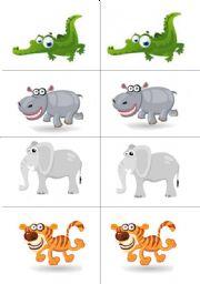 English Worksheet: wild animals memory game