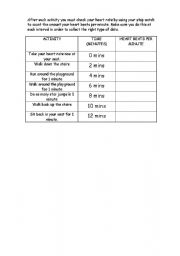 English Worksheets: Data handling - heart rate activity table
