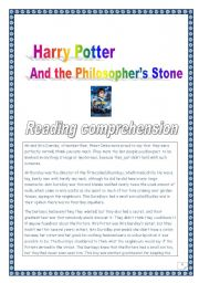 English Worksheets: Reading comprehension: project: Harry Potter & the Philosopher�s Stone �(4 pages, plain version)