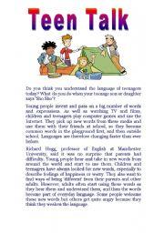 English Worksheets: Tenn talk reading comprehension