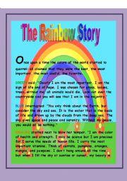 English Worksheet: The rainbow story