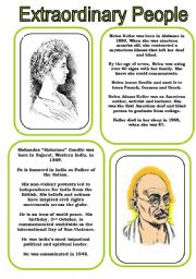 "English Worksheet: Extraordinary People 3 ...Helen Keller and Mohandas ""Mahatma"" Gandhi (2 pages)"