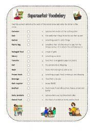 English Worksheet: Supermarket Vocabulary Matching