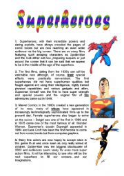 English Worksheet: superheroes reading comprehension