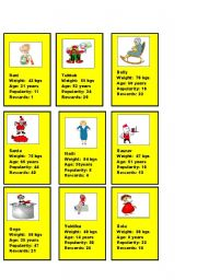 English Worksheet: Card Game on Comparatives 2/2