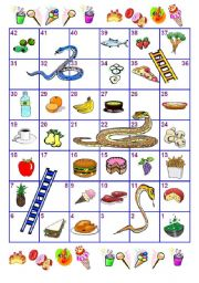 English Worksheets: Food Snakes and Ladders