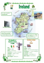 Ireland, a map, a few facts about Eire and Northern Ireland, part1 ...