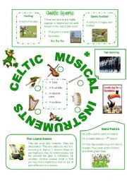 English Worksheet: Ireland, part2 (out of 2), Celtic musical instruments and sports, the Leprechauns and St Patrick´s Day
