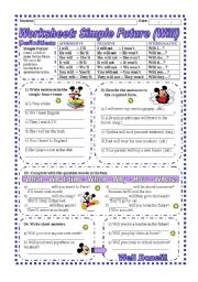 English worksheet: Worksheet: Simple Future (Will) - Explanation & exercise
