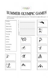 english worksheets summer olympic sports. Black Bedroom Furniture Sets. Home Design Ideas