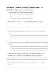 English Worksheet: The Boy in the Striped Pyjamas ch.1-3
