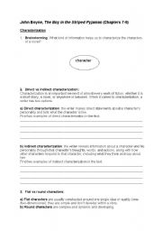 English Worksheet: The Boy in the Striped Pyjamas ch.7-9