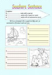 English Worksheets: Seashore Sentences