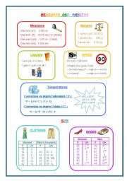 English Worksheets: British weights, measures, temperatures, speed, size and their European equivalents