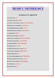 English Worksheet: SO DO I/NEITHER DO I
