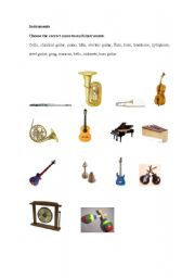 English Worksheets: instruments