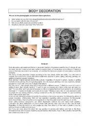 English Worksheets: BODY DECORATION