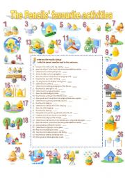 English Worksheet: The Pencils� favourite activities