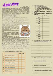 English Worksheets: A pet story