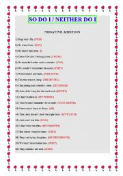English Worksheet: SO DO I/NEITHER DO I........second edition