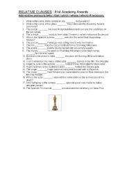 English worksheet: RELATIVE PRONOUNS: 81ST ACADEMY AWARDS