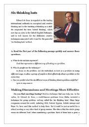 English Worksheets: Six Thinking Hats- with answer key
