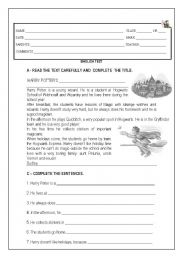 English Worksheets: Harry Potter�s daily routine