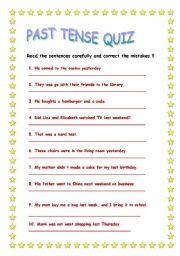 English worksheet: Past tense quiz