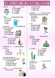 English Worksheet: PAST SIMPLE or PRESENT PERFECT TEST
