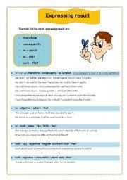English Worksheets: Expressing result