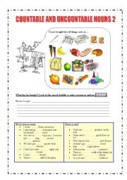 English Worksheets: Countable and uncountable nouns 2