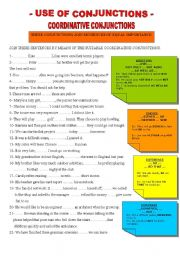 English Worksheets: COORDINATIVE CONJUCTIONS - PRE INTERMEDIATE