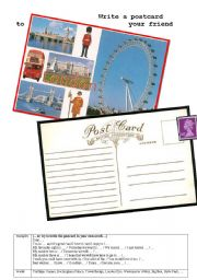 English Worksheet: Write a postcard from London
