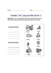 English Worksheets: Long O and Short O