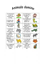 English Worksheets: Animals domino game