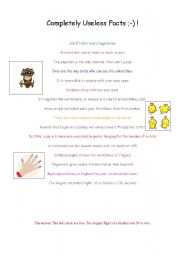 English Worksheets: uselese facts