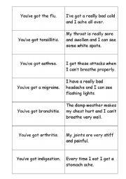 English Worksheet: symptoms and illnesses