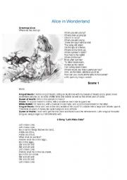 English Worksheet: Alice in Wonderland school theatre