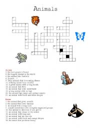 English Worksheets: animal crosswords