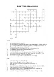 English Worksheet: Junk food crossword