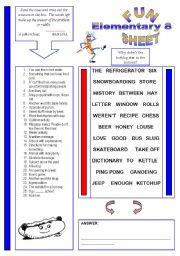 English Worksheet: Fun Sheet Elementary 8