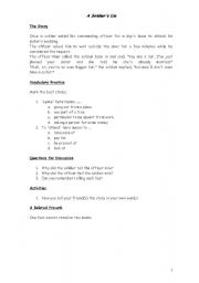 English Worksheets: A Soldier�s lie