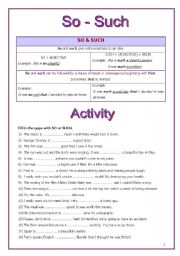 English Worksheet: So & Such