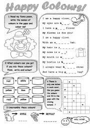 English Worksheet: HAPPY COLOURS! - a worksheet for young learners to practise colours
