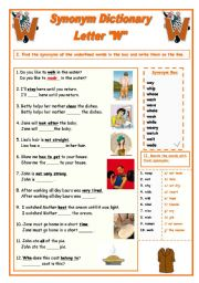 English Worksheet: Synonym Dictionary, Letter W