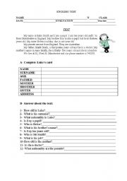 Test on nationalities, family, possessive case and jobs.