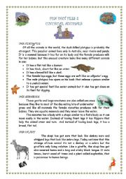 English Worksheet: FUN FACTS 2 - UNUSUAL ANIMALS 1/3