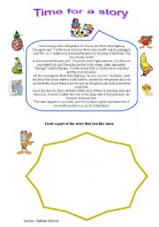 English Worksheet: a short story about fruits