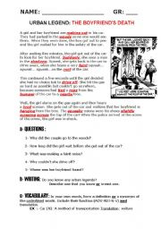 English Worksheets: READING+WRITING: Urban Legend