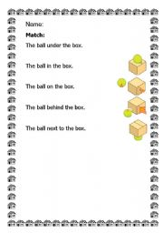 English Worksheets: preposition ,on,under,in,behind